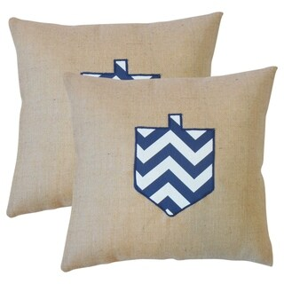 Set of 2 Gaspard Holiday Throw Pillows in Blue
