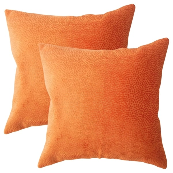 Set of 2 Haines Solid Throw Pillows in Orange