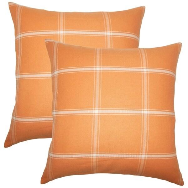 Set of 2 Sabriyya Plaid Throw Pillows in Sundance