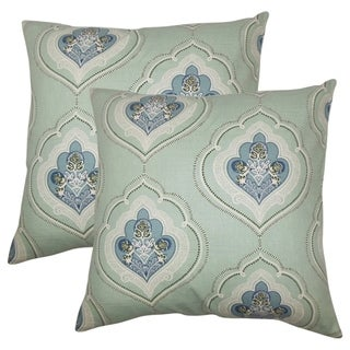 Set of 2  Aafje Floral Throw Pillows in Sea Green