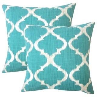 Set of 2  Iara Ikat Throw Pillows in Teal