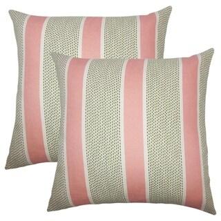 Set of 2  Velten Striped Throw Pillows in Pink Green