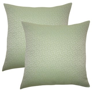 Set of 2  Pertessa Geometric Throw Pillows in Green