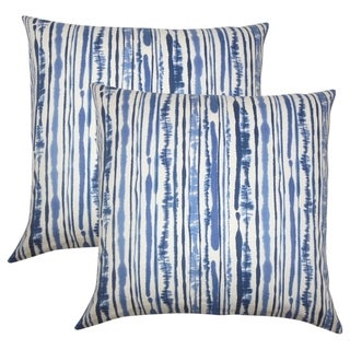 Set of 2 Jumoke Striped Throw Pillows in Navy