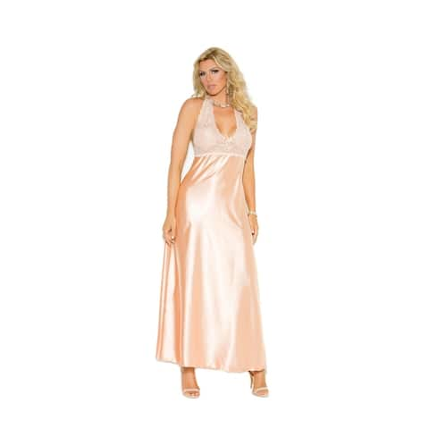 Elegant Moments womens Plus Size halter neck gown and g-string