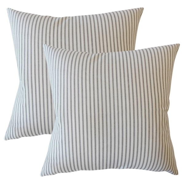 Set of 2 Fabius Striped Throw Pillows in Black
