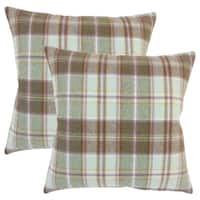 Set of 2  Heaton Plaid Throw Pillows in Brown