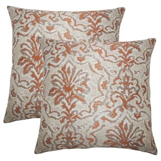 Set of 2  Zain Damask Throw Pillows in Melon