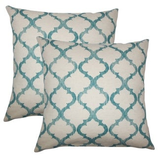 Set of 2  Fortuo Geometric Throw Pillows in Teal