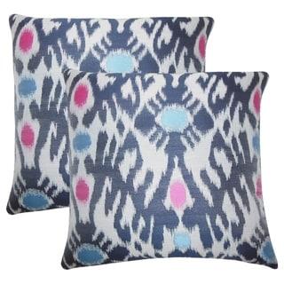 Set of 2  Yagmur Ikat Throw Pillows in Blue