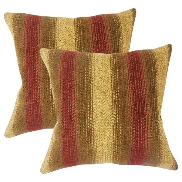 Attirant Set Of 2 Laran Striped Throw Pillows In Gold