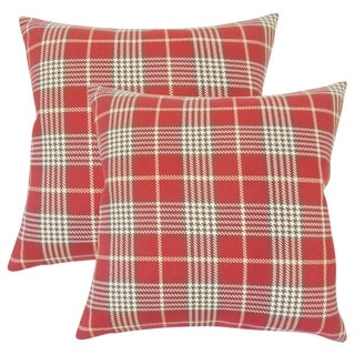 Set of 2  Querijn Plaid Throw Pillows in Red