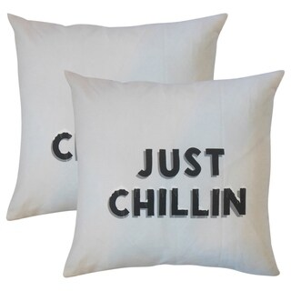 Set of 2 Just Chillin Text Throw Pillows in White