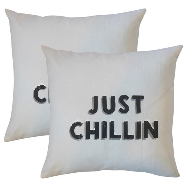 Shop Set Of 2 Just Chillin Text Throw Pillows In White