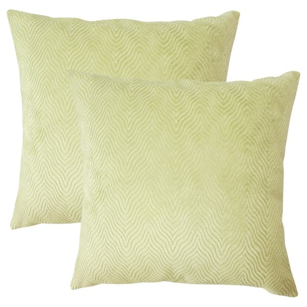 Set of 2 Idarine Solid Throw Pillows in Green