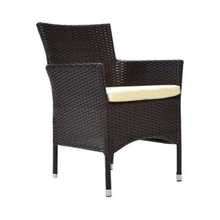 Laura Benasse Bora Patio Dining Arm Chair with Cushion (Set of 2)(Espresso)