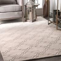 nuLoom Cream Wool Handmade Modern Trellis Area Rug (6' x 9') - 6' x 9'
