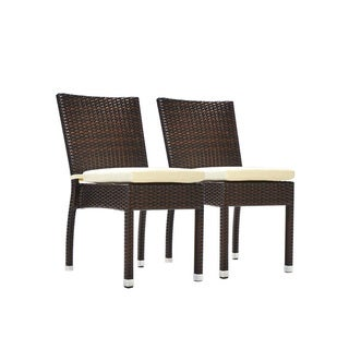 Jersey Stacking Patio Dining Side Chair with Cushion (Set of 2)(Espresso)