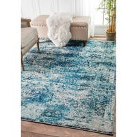 nuLoom Traditional Vintage Distressed Blue Rug (9' x 12') - 9' x 12'