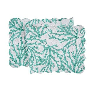 Cora Seafoam Cotton Quilted Reversible Table Runner 14x51