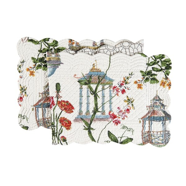 Garden Folly Cotton Quilted Reversible Table Runner 14x51