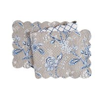 Annabelle Blue Cotton Quilted Reversible Table Runner 14x51