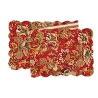 Jocelyn Red Cotton Quilted Reversible Table Runner 14x51