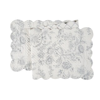 Clementina Cement Cotton Quilted Reversible Table Runner 14x51