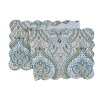Amherst Blue Cotton Quilted Reversible Table Runner 14x51