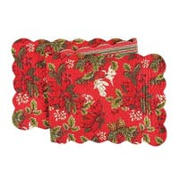 Poinsettia & Pine Cotton Quilted Reversible Table Runner 14x51