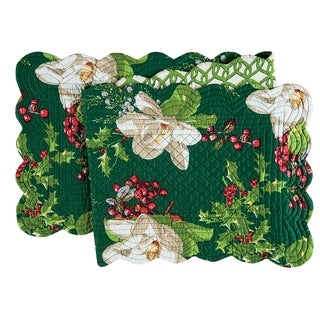 Bella Magnolia Cotton Quilted Reversible Table Runner 14x51