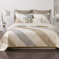 Nostalgia Home Stanton Stripe Taupe Quilt (Shams Sold Separately) Queen/ Full Size (As Is Item)