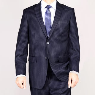 Navy Blue Pinstripe 2-Button Suit 46R/ 40W Size in Navy Blue (As Is Item)