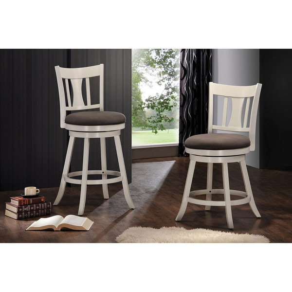 Shop Tabib Fabric And White Wood Counter Height Chair With