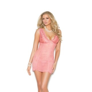 Elegant Moments mesh and lace babydoll with g-string.