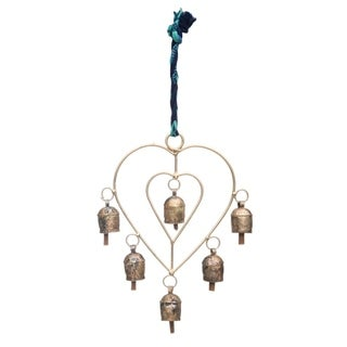 Handcrafted Sari Twist Heart Chime (India)