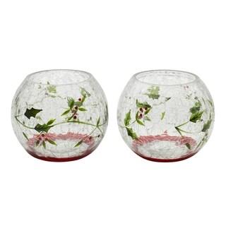Winterberry 5 Inch Glass Votive Holders Set of 2