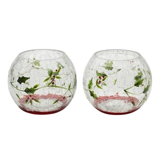 Winterberry 5 Inch Glass Votive Holders Set of 2
