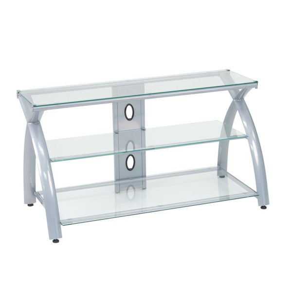 Shop Offex Futura Black Silver Steel Glass Tv Stand Free Shipping