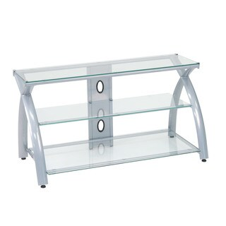 Offex Futura Black/Silver Steel, Glass TV Stand