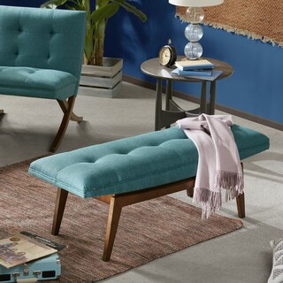 Ink+Ivy Wynn Teal/Pecan Wood Upholstered Tufted Bench