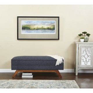 INSPIRED by Bassett Beth Midcentury Bench in Polyester Fabric with Amber Finished Legs
