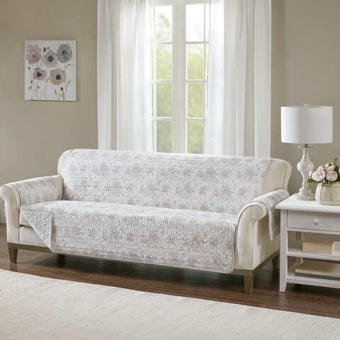 Madison Park Harmony Coral Quilted Reversible Cotton Printed Sofa Protector