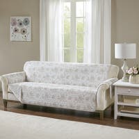 """Madison Park Harmony Coral Quilted Reversible Cotton Printed Sofa Protector - 110""""w x 75l"""" + 22""""arm"""