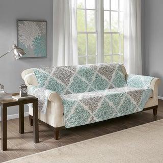 Madison Park Montecito Aqua Quilted Reversible Printed Sofa Protector