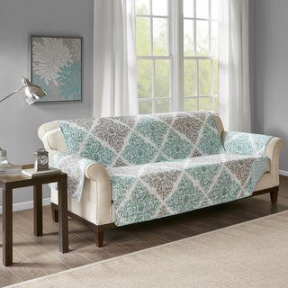 Madison Park Montecito Aqua Quilted Reversible Printed Sofa Protector