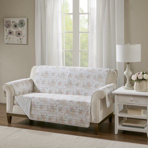 Madison Park Harmony Coral Quilted Reversible Cotton Printed Loveseat Protector