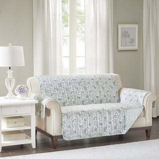 Madison Park Vanessa Blue Quilted Reversible Cotton Printed Loveseat Protector