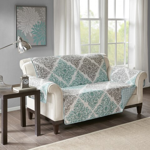 Madison Park Montecito Aqua Quilted Reversible Printed Loveseat Protector