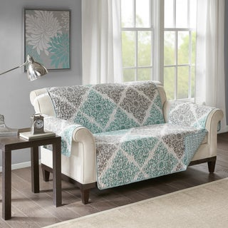"Madison Park Montecito Aqua Quilted Reversible Printed Loveseat Protector - 88""w x 75l"" + 22""arm"
